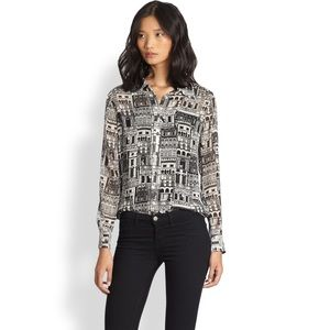 EQUIPMENT Brett Silk Chiffon Cityprint Shirt MED